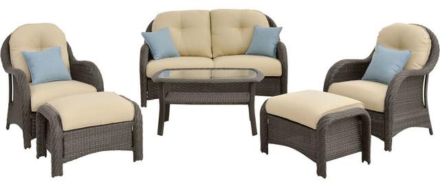 Newport 6-Piece Woven Seating Set, Cream.