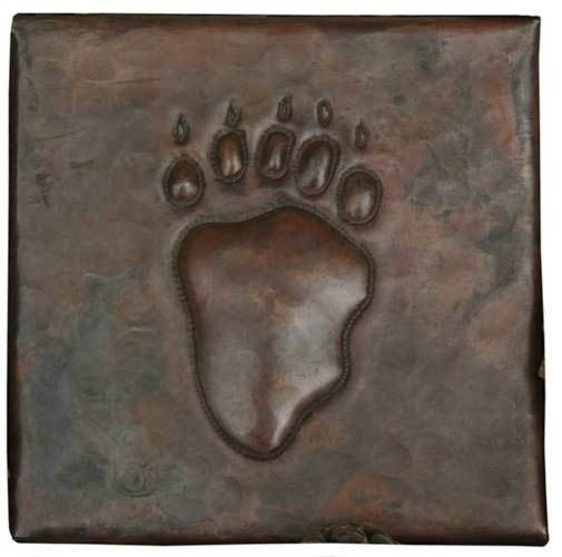 """Bear Claw Design Hammered Copper Tile, 4""""x 4"""""""