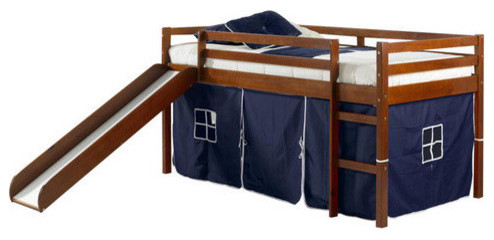 Horner Kids Twin Loft Bed With Slide and Tent Light Espresso and Blue Blue  sc 1 st  Houzz & Horner Kids Twin Loft Bed With Slide and Tent - Contemporary ...
