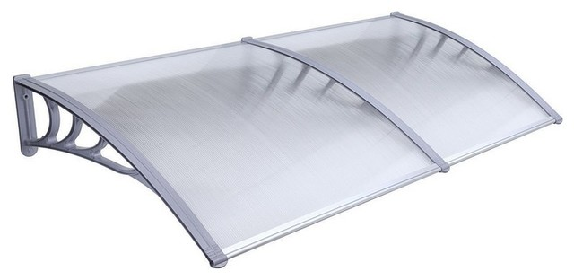 "Aleko Polycarbonate Outdoor Awning Cover, 40""x80"", Gray."