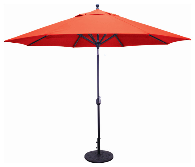 11 Deluxe Auto Tilt Patio Umbrella Black Transitional