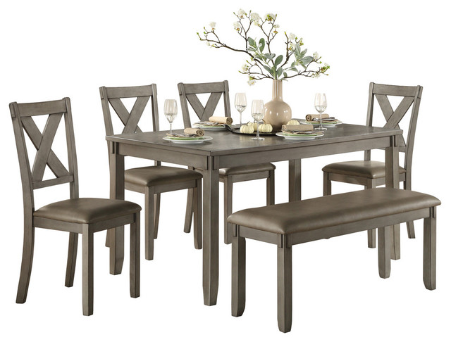 Standish Dining Room Table Chairs And Bench Set Of 6