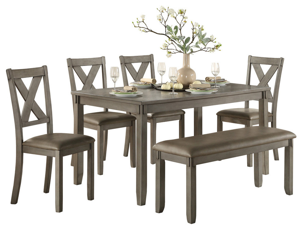 Standish Dining Room Table, Chairs and Bench, Set of 6