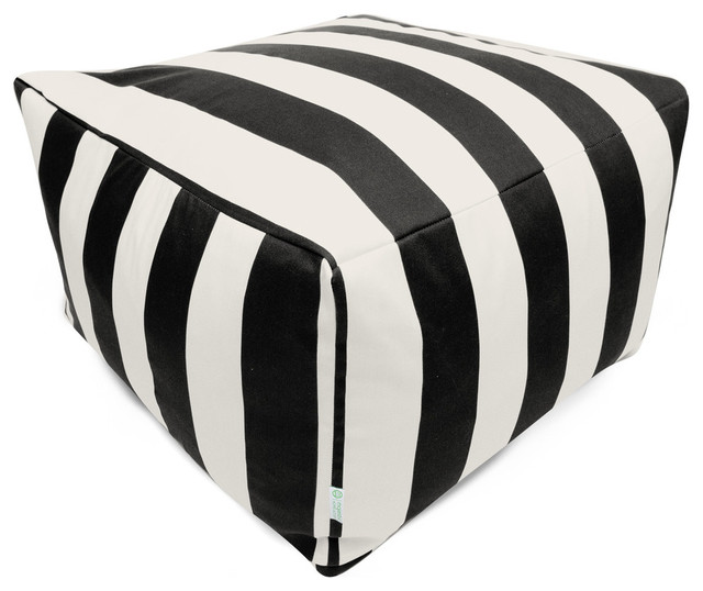 Black Vertical Stripe Large Ottoman.