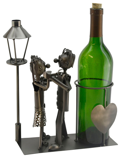 Metal Whimsical Lovers By A Light Post Wine Bottle Holder.
