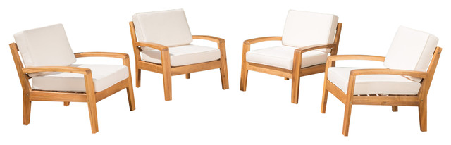 4 Piece Outdoor Wood Club Chairs, Cushions, Beige.