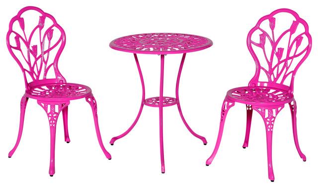 Tulip 3 Piece Bistro Set, Pink Contemporary Outdoor Pub And