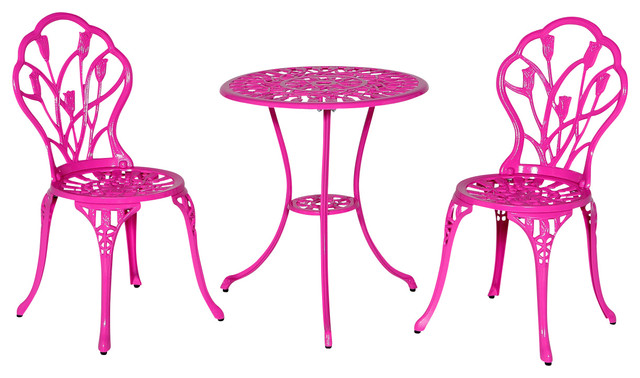 Tulip Pink Bistro Table And Chairs Set Contemporary Outdoor Pub