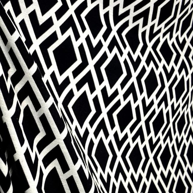 Teva Noir Black White Diamond Geometric Trellis Fabric Traditional