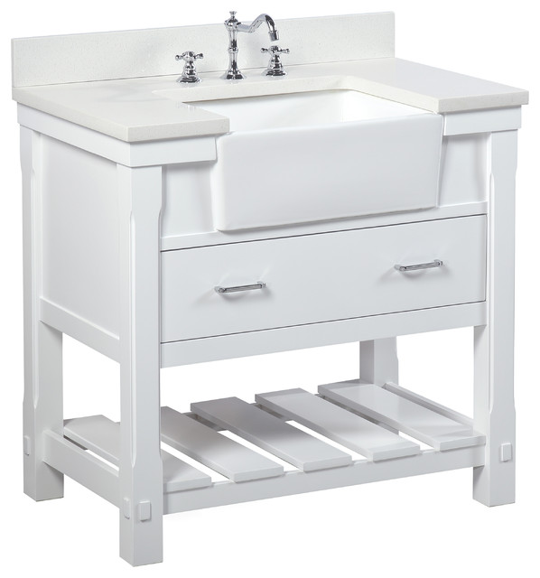 Charlotte Bathroom Vanity  Base White 36 Top Quartz Single Transitional Vanities And