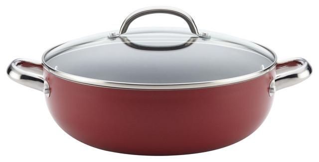 Farberware Buena Cocina Aluminum Nonstick Caldero/casserole, 6.5 Quart, Red.