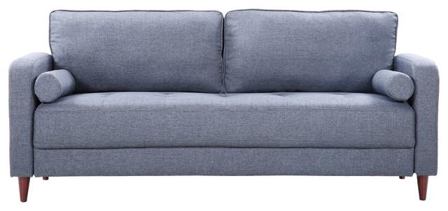Mid Century Modern Linen Fabric Living Room Sofa Dark Blue