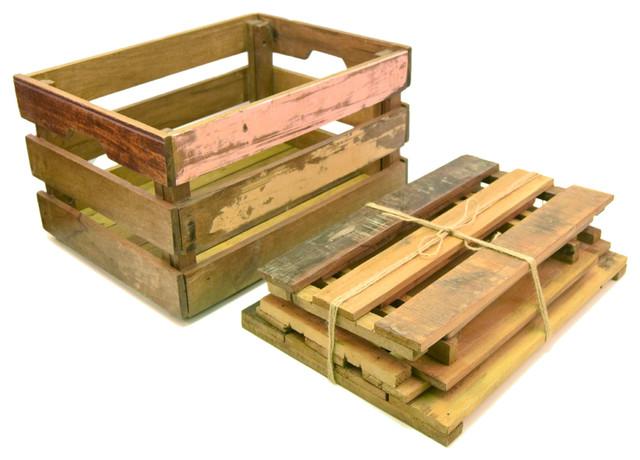 Distressed Wood Crate Vinyl Record Storage Farmhouse Storage