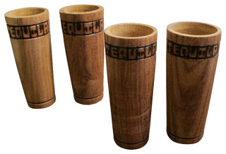 Handmade Wooden Tequila Shot Glasses, Set of 6 - Tropical - Shot Glasses - by Sofia's Findings