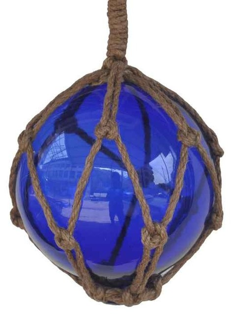 Blue Japanese Glass Ball Fishing Float With Brown Netting Decoration 6'', Glass