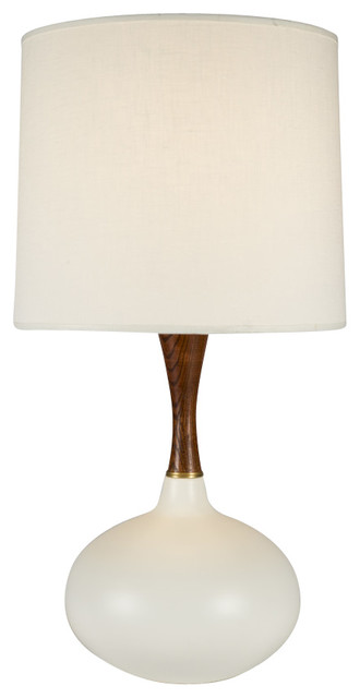 Pops Deluxe Table Lamp In Bisque Ceramic Finish With Dijon Tweed Shade.