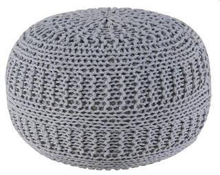 Woven Rope Pouf, Gray