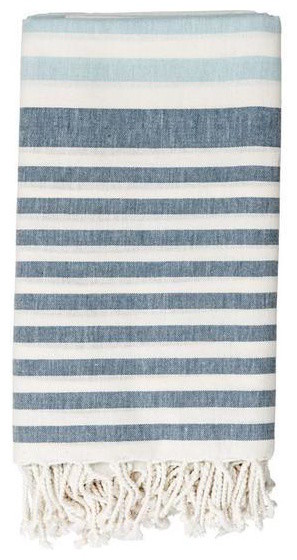 White Cotton Throw with Blue Stripes