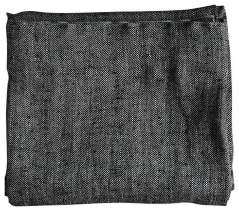 "Black Linen Pencil Pleat Curtain Panel Chevron, 53""x108""."