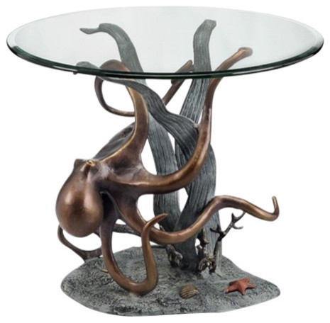 Octopus And Seagrass End Table Beach Style Side Tables