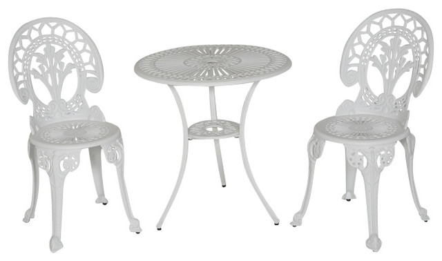 Royal Crown Bistro Table And Chairs Set, White Contemporary Outdoor Pub And