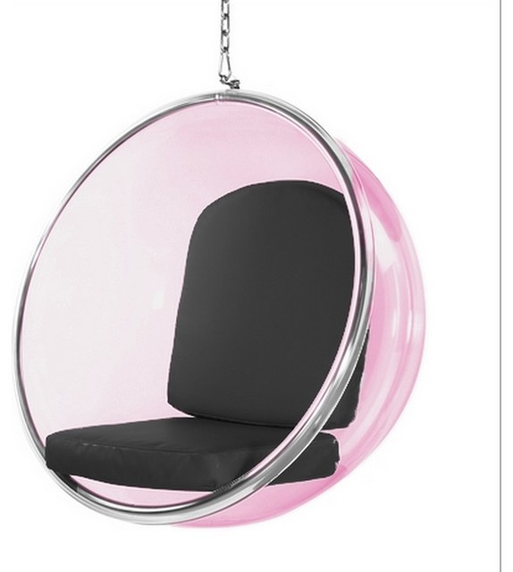 Fine Mod Imports Bubble Hanging Chair Pink Acrylic, Black