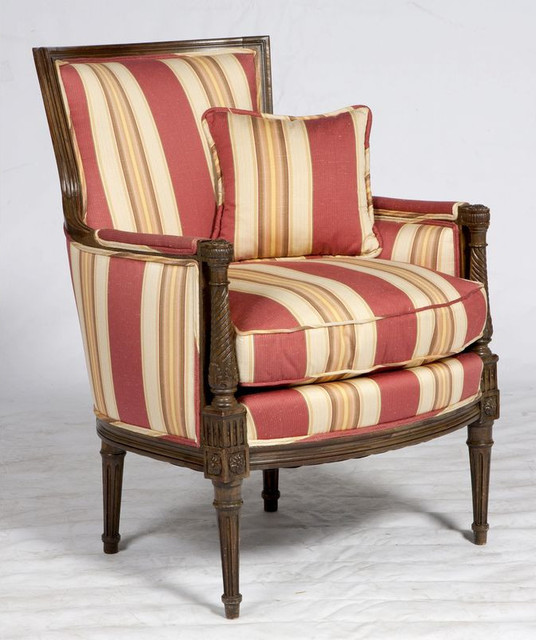 Red Striped Formal Armchair   $2,550 Est. Retail   $750 On Chairish.com  Traditional