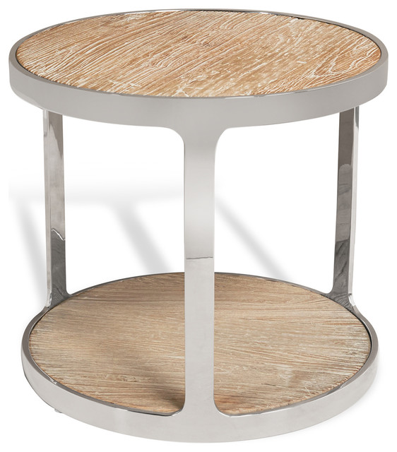 Zanuso Industrial Reclaimed Elm Stainless Steel Round Side Table  Industrial Side Tables And