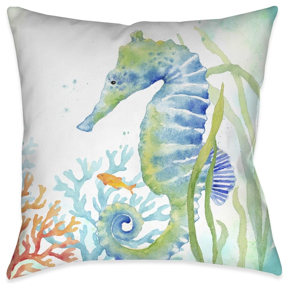 Laural Home Sea Life Seahorse Indoor Decorative Pillow Beach Style Decorative Pillows By Laural Home