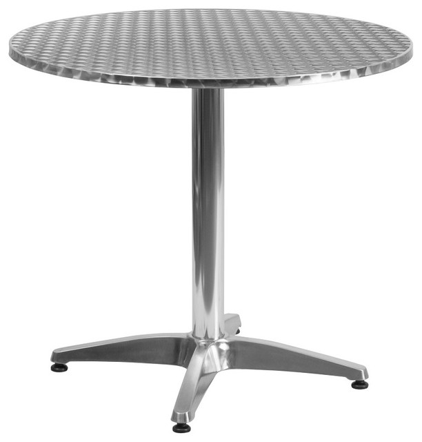 MFO 31.5'' Round Aluminum Indoor-Outdoor Table with Base