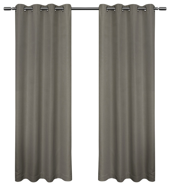 Melrose Woven Blackout Grommet Top Curtains, Set Of 2, Black Pearl, 52 X 96.
