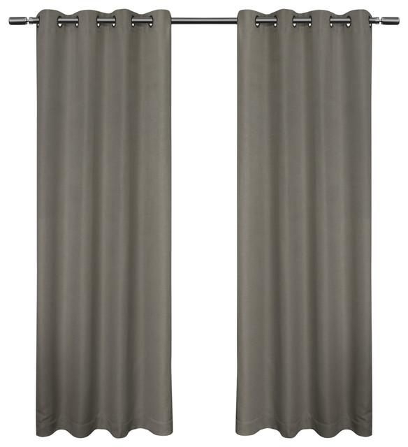 "Melrose Woven Blackout Grommet Top Curtains, Set Of 2, Black Pearl, 52"" X 96""."