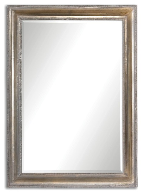 Avelina Oxidized Plated Silver Accented With A Light Gray Glaze Rectangular Mirr.