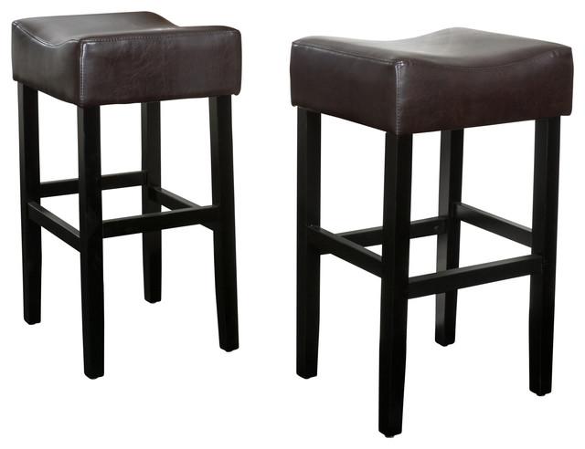 Adler Brown Leather Backless Bar Stools Set Of 2