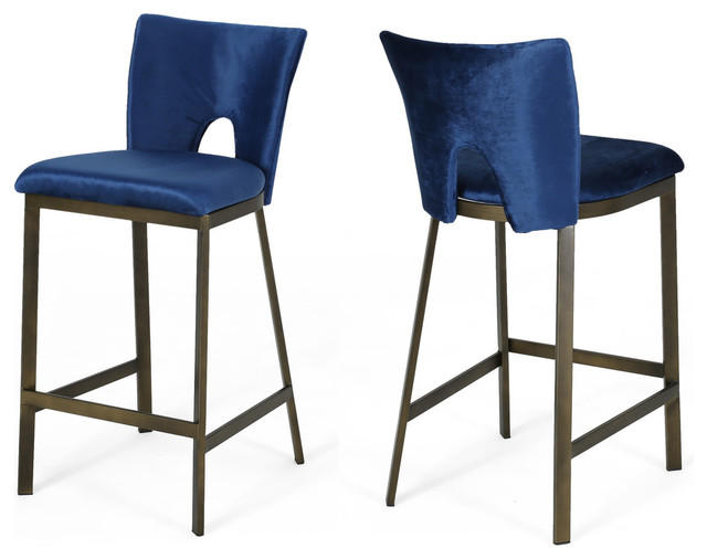 Prime Teresa Modern Glam 26 Velvet Barstool With Brass Metal Legs Set Of 2 Gmtry Best Dining Table And Chair Ideas Images Gmtryco