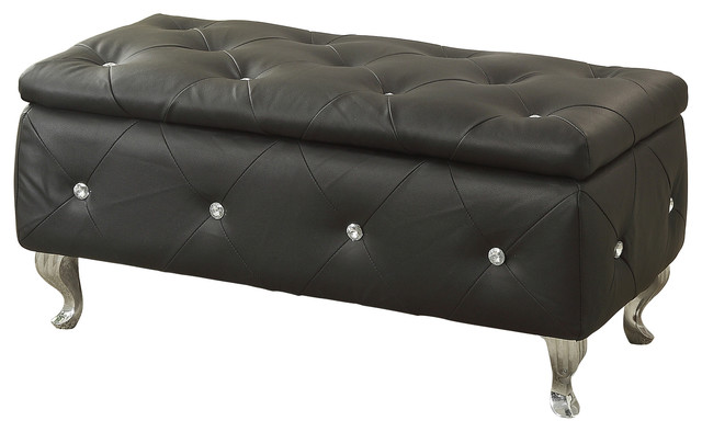Crystal Tufted Storage Bench Contemporary Upholstered