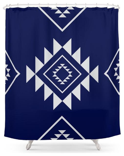 Navy Aztec Shower Curtain