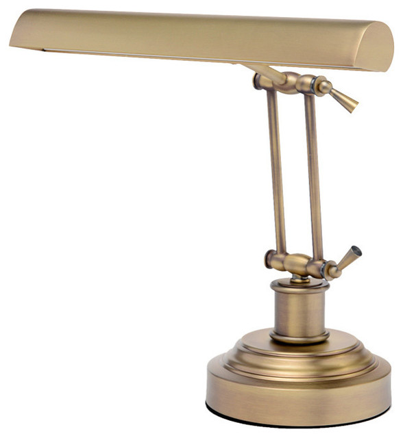 LED Piano Desk Lamp, Antique Brass - LED Piano Desk Lamp, Antique Brass - Contemporary - Desk Lamps - By