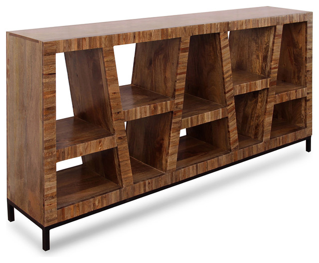 Leeds Bookcase, Dark Walnut Finish, Iron Base