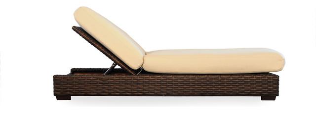 Lloyd Flanders Contempo Pool Chaise, Aged Walnut, Charlotte Sparrow Fabric.