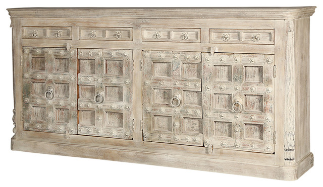 "Palazzo 93"" Light Brown Solid Wood 4-Drawer Rustic Sideboard Cabinet."