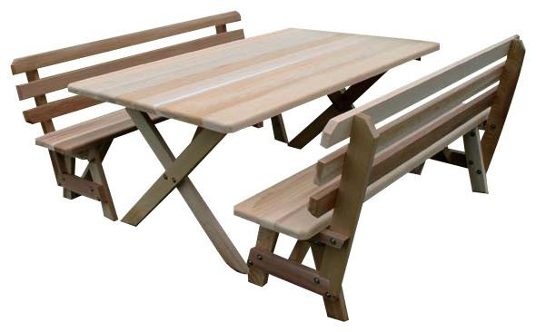 Phenomenal 42X46 Red Cedar Cross Legged Picnic Table With 2 46 Backed Benches Creativecarmelina Interior Chair Design Creativecarmelinacom