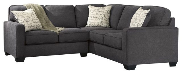 Alenya 2 Piece RAF Sofa Sectional, Charcoal Contemporary Sectional Sofas