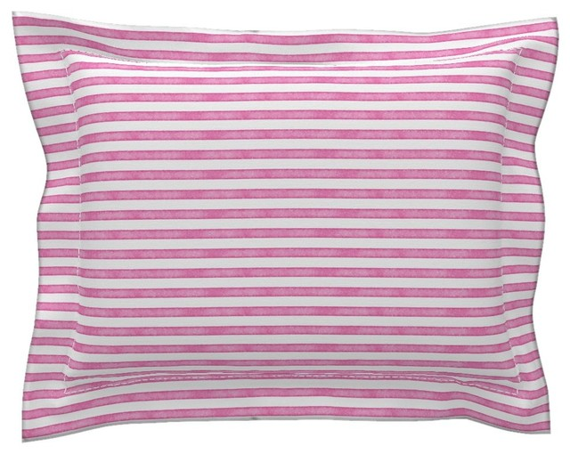 Salted Watercolor Stripes Hot Pink Pink Cotton Pillow Sham