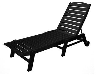 POLYWOOD Nautical Chaise With Wheels - Contemporary - Outdoor Chaise Lounges - by Polywood Furniture