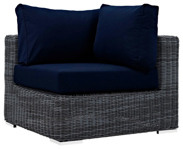 Remarkable Modern Contemporary Urban Outdoor Patio Corner Lounge Chair Navy Blue Rattan Ocoug Best Dining Table And Chair Ideas Images Ocougorg
