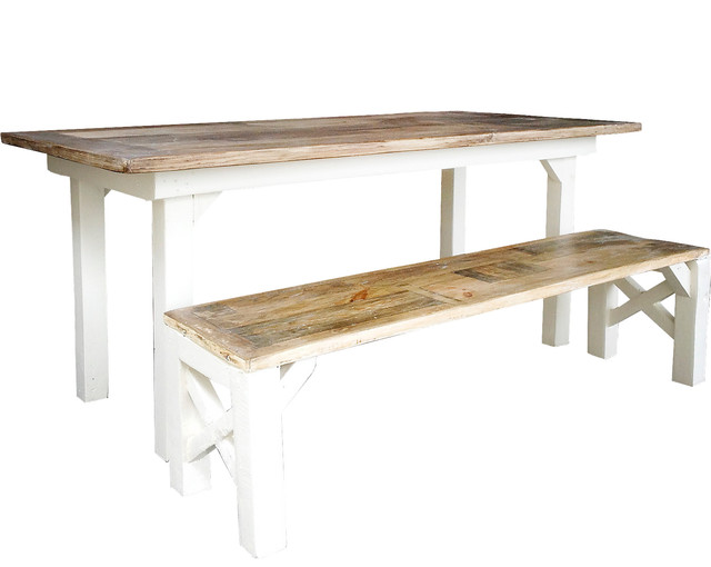Malka Bench and Susanne Light Brown Table, Two-Piece Set