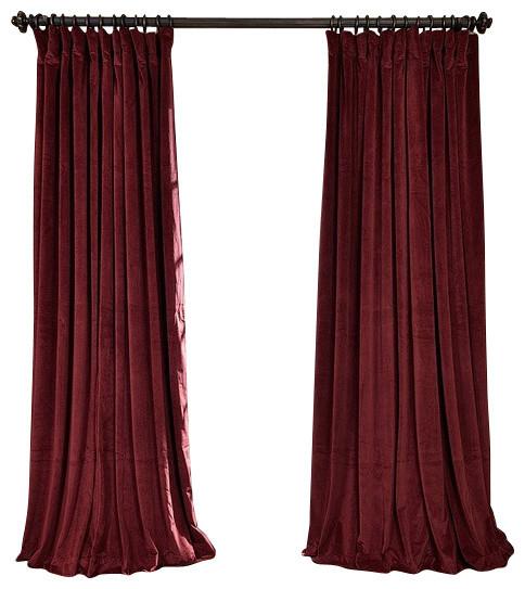 """Blackout Velvet Single-Panel Curtain, Burgundy, 100""""x84"""""""