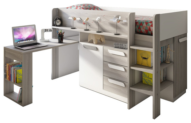 Molina Midsleeper Bed, Mattress Included, White.