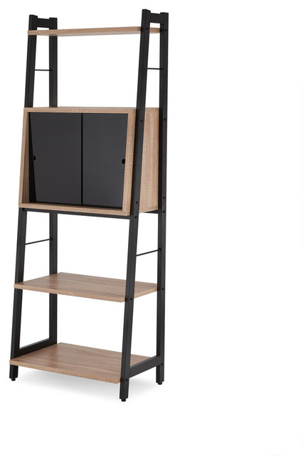ACME Finis Leaning Bookcase, Light Oak and Black - Contemporary - Bookcases - by Acme Furniture